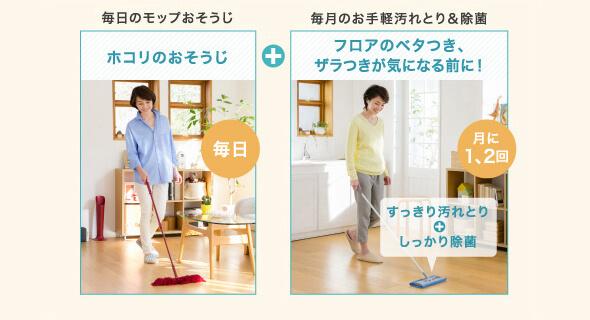 毎日のモップおそうじと毎月のお手軽汚れとり&除菌